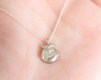 Owl Necklace, Silver Sterling 925, Bird Jewelry, Owl Charm