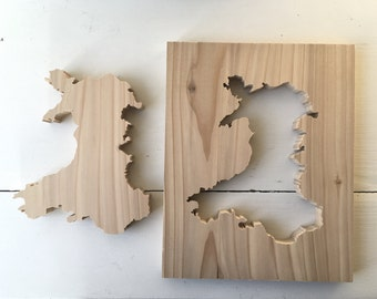 Wales map outline / cutout made from Western Red Cedar