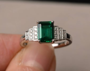 Lab Emerald Ring Engagement Ring Sterling Silver Ring May Birthstone Emerald Cut Green Gemstone Ring