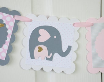 Elephant Baby Shower Name Banner, Birthday Party, Light Pink, Glittered Gold, Pale Pink And Gray Colors