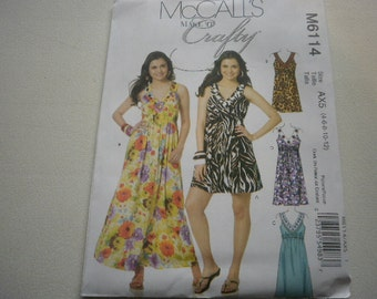 Pattern Ladies Dress 5 Styles Sizes 4 to 12 McCalls 6114
