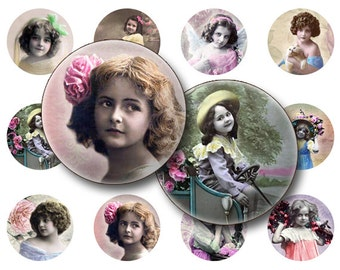 Children collage sheet Digital Collage sheet 1x1 inch for jewelry circle pendants & magnets  digital collage sheet