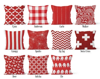 Red Pillow Cover, Decorative Throw Pillow Covers, Euro Pillow Sham 16 x 16, 18 x 18, 20 x 20, 22 x 22, 24 x 24, 26 x 26