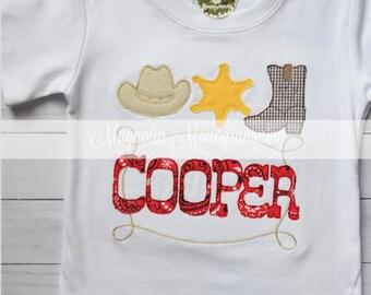 Western Applique Shirt, Cowboy Applique, Sheriff Applique, Boots Applique Shirt, Rodeo Cowboy Shirt, Cowboy Applique Shirt, Rodeo Birthday