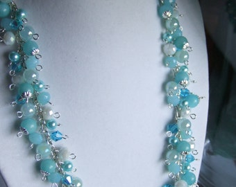 Aqua bead cluster necklace set 0349NK