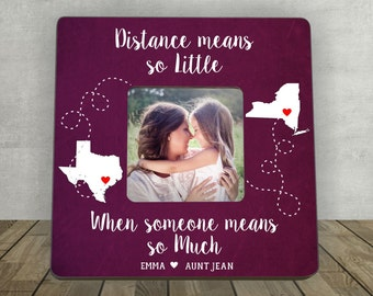 Gift for Aunt, Personalized Picture Frame, Long Distance Relationship, Mother's Day Gift for Aunt, Distance Means so Little When Someone