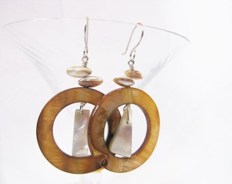 Dangle Earrings: Tan Dyed Pink Lip Shell with Natural Shell Fragments and Natural Shell Ovals