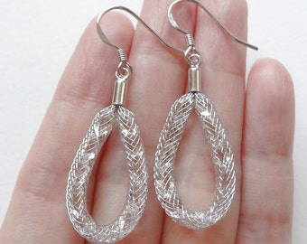 Herkimer Diamond Crystal Mesh Tubing Designer Fashion Earrings in Sterling Silver One Pair H6260