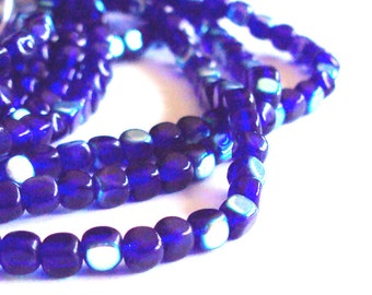 Czech glass x 100, Cobalt AB, 4mm cube, pressed beads