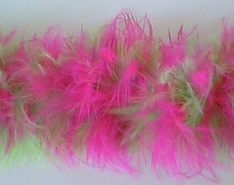 Hot Pink and Lime Green  Marabou Feathers Ribbon Trim - Craft, Costume, Millinery Trim - Sold by the Yard