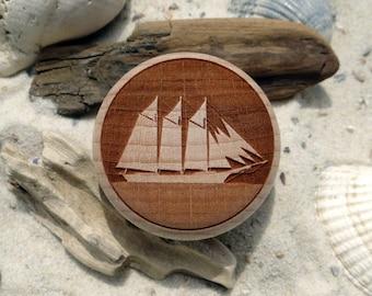 Furniture Knob gaff schooner sailing ship engraving wood-furniture knob-Beech