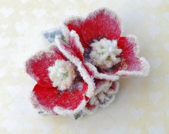 Weihnachten Winter kleine gefrorene Doppel Helleborus in Rottönen winter Vintage-Stil Pin up Rockabilly 40er Jahre 50er Jahre top-Qualität