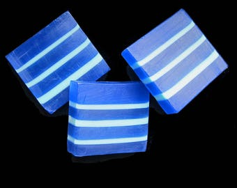 Lilac in Blue and Aqua Stripes Glycerin and Shea Butter Soap