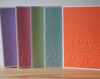 5 Owl Note Cards. Blank Card Set.  Embossed Owl Cards. Woodland Note Cards.  Owl Thank You Cards.  Owl Gift.  Teacher Cards