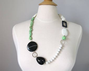 Long necklace mixed black and green beads and gemstones Many Treasures