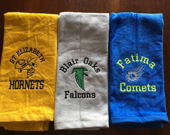 Mascot Sport towels, Personalized towel, team towels, bulldogs, Emberoidered Towel, Custom Embroidery, Sport Towels,