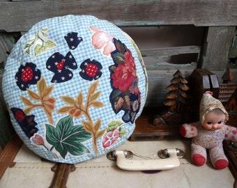 OOAK Applique, Flower Medley, Floral Collage, Round Cushion, Statement Cushion, Throw Pillow, Vintage & New Fabrics, Handmade Cushion