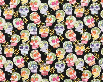 Mini Calaveras Cotton Fabric by the Yard Alexander Henry Fabric Sugar Skulls