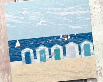 Beach card - Birthday card - Beach huts - Blank greeting cards - blank card - art cards - beach gifts - coastal cards - uk sellers only