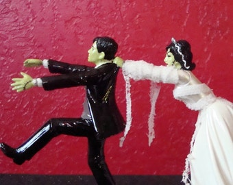 Frankenstein & Bride Wedding Cake Topper ~ Ready to Ship