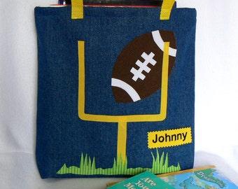 Kids Football Tote Bag|Personalized Tote Bag|Preschool Bag|Toddler Bag|Children Book Bag|Easter Gift Bag|Kid Gift Bag|Denim Tote Bag