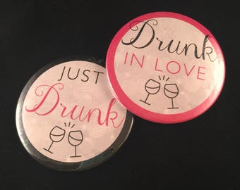Drunk in Love – Just Drunk Buttons | Bachelorette Party Buttons | 3 Inch Custom Pinback Buttons, Magnets and Mirrors | Pink & Black Glitter