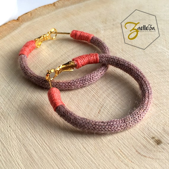 "Earrings hoop earrings 35mm gold - vintage pink / coral - model LUCCIOLA - ""Collection winter 2017/18"" Christmas / Jewelry / Gifts"