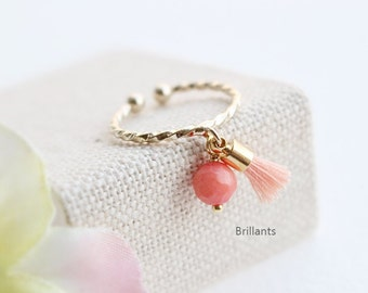 Cute Coral stone and Tassel Ring in gold, Stracking ring, Adjustable ring, Open ring, Knuckle ring, Everyday jewelry