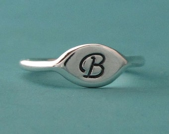 Initial Letter Ring Sterling Silver, Small Signet Pinky Ring