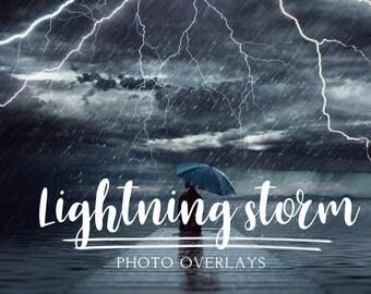 Lightning storm Photo Overlays, photoshop overlays, cloud overlays, lightning overlays, storm overlays