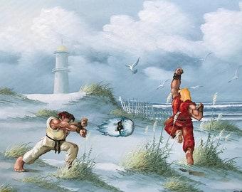 Street Fighter Ken and Ryu Parody - Repurposed Enhanced Altered Thrift Art- Print Poster Canvas - Video Game Gamer Geek Groomsmen Gift
