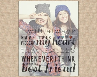 Birthday Gift for Her, Best Friend Gift, Best Friend Quote Gift, Best Friend Long Distance // Choose ArtPrint or Canvas // H-Q25-1PS ZZ1 03P