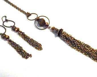 set earrings and necklace 60cm antique bronze and golden brown bead.