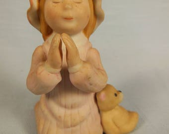 Vintage Holly Hobbies Friend-Carrie-Saying Her Bedtime Prayers-Ceramic Figurine--Marked H Hobbie On Bottom