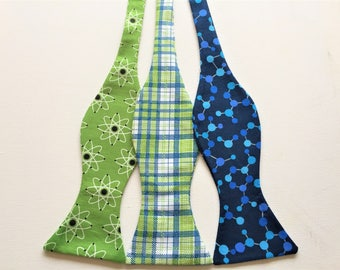 Science Bow Ties: sold individually.  Green Atoms, Geeky Green Plaid, Blue Molecules.  Scientist, Chemist, Chemistry, Physics, Physicist.