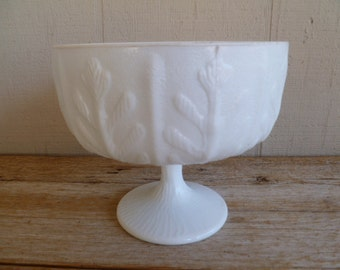 Beautiful Milk Glass Footed Candy Dish Compote FTD