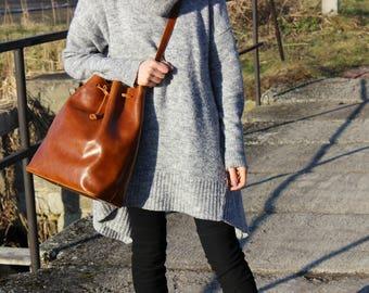 bucket bag, brown leather tote bag,   handmade leather bag, leather shoulder bag