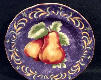 "ON SALE Noble Excellence NAPA Valley Honey Accent Salad Plate Dinnerware Pears Blue/Purple Excellent Condition 9"" in diameter"