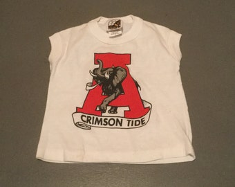 Vintage 1980's Alabama Crimson Tide Roll Tide Baby  Football 50/50 Jersey T-Shirt Thin and Soft Made in USA