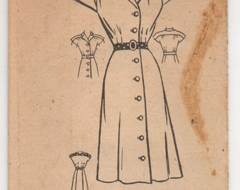 """1940's American Weekly One Piece Shirtwaist dress with Cap Sleeves and Contrast Yoke pattern - Bust 34"""" - UC/FF - No. 3814"""