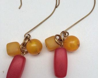Dangle Earrings, Beaded drop earrings, Red & Yellow frosted bead earrings, bohemian earrings