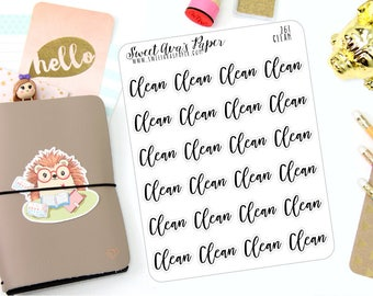 Clean Planner Stickers - Script Planner Stickers - Lettering Planner Stickers - Chore Planner Stickers - Fits Most Planners - 261