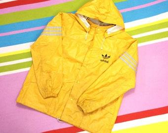 RARE Vintage Adidas Yellow Jacket - WATERPROOF Removable Hood WINDBREAKER Adidas Windcheater Gold All Weather Retro - Size Medium Large