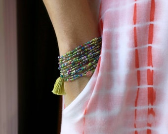 """Margarita Beaded Wrap Bracelet with or without Tassel or Charm - 87"""" Long Seed Bead Stretch Bracelet"""
