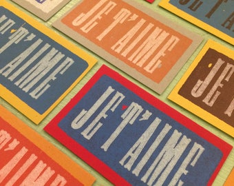 JE T AIME I Love You Letterpress Wood Type Mini Cards and Envelopes 20 Pack