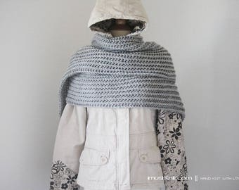 long knit scarf || oversized scarf || knitted grey scarf | lacy ribbed scarf | hand knit wrap -grey heather 11 x 81''