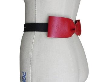 Red Leather Bow Belt - Wedding Dress Belt - Red Bow Belt - Black & Red Wedding - Big Bow Belt Lambskin Wedding Dress - Evening Belt in stock