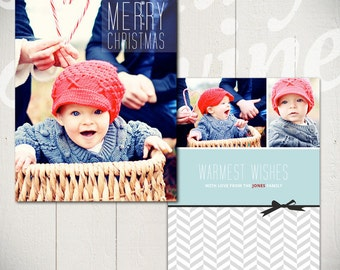 Christmas Card Template: Merry Little Christmas B - 5x7 Holiday Card Template for Photographers