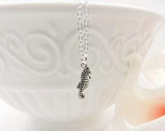 FREE US Ship Tiny Sterling Silver Seahorse Necklace Minimalist Seahorse Necklace Dainty Seahorse Layering Necklace Bridesmaid Necklace