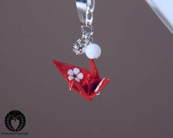 Origami Crane Pendant, Origami Crane Necklace, Origami Crane Jewelry - Red